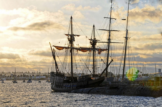 old-sailing-ship-in-sunset